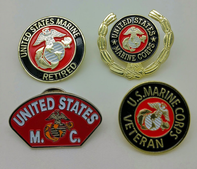 Lot of 4 Different Marine Pins (Best Quality)