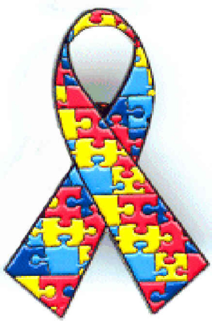 Autism Awareness Puzzle Ribbon Pin