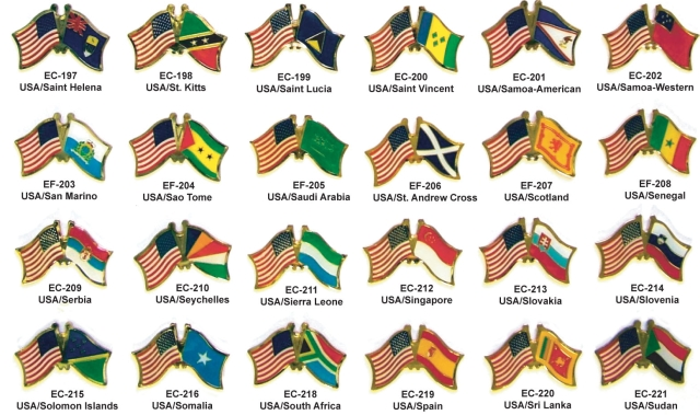 page 4 world flag / USA friendship pins