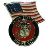 pin 4577 United States Marine Corps with American Flag