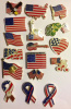 17 Different American Flag Hat Lapel Pins