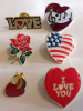 Lot of 6 Different Heart Love Pins